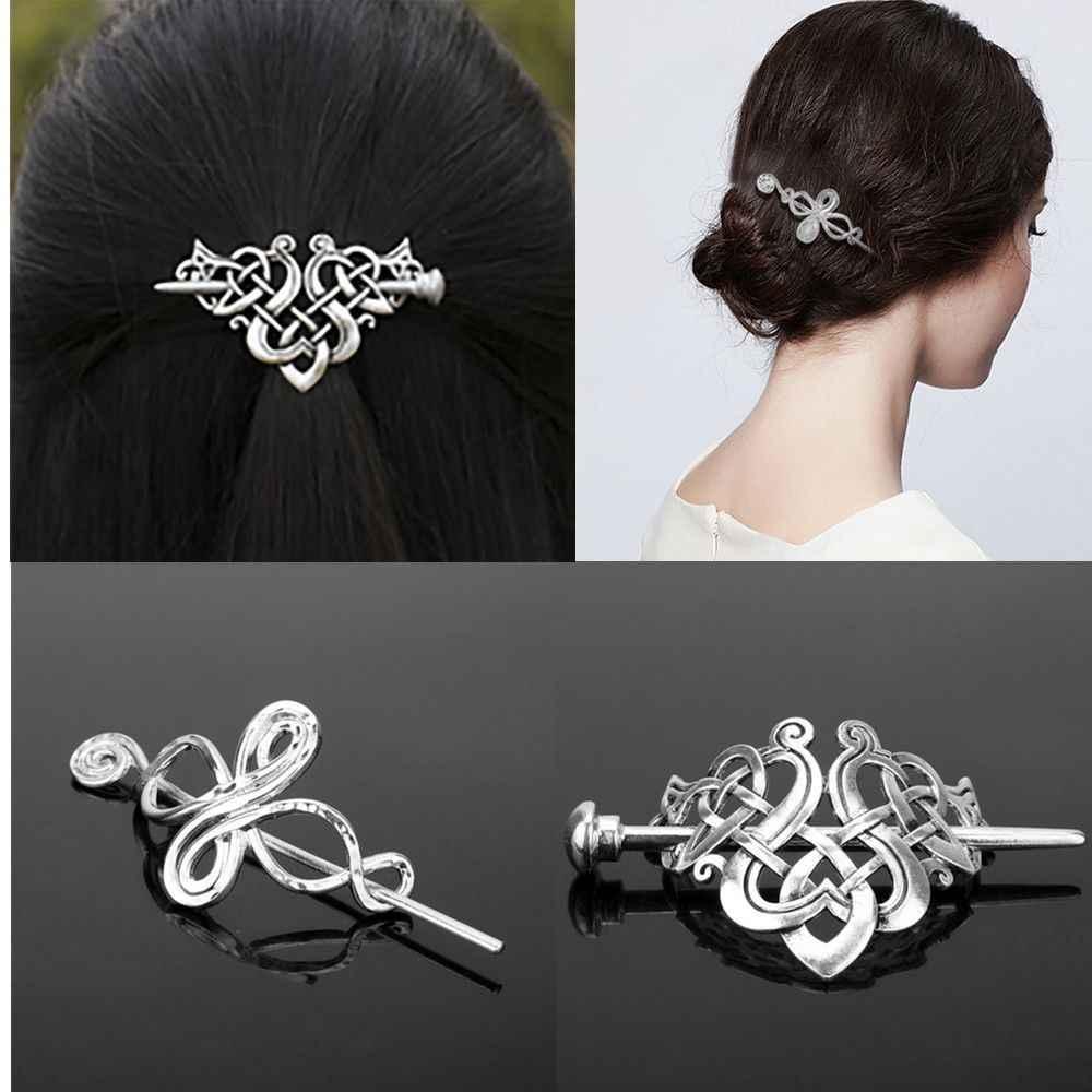 Rétro Celtics noeuds Viking Runes couronne pinces à cheveux charmant alliage argent épingles à cheveux bâton glisser bijoux accessoires de cheveux pour les femmes