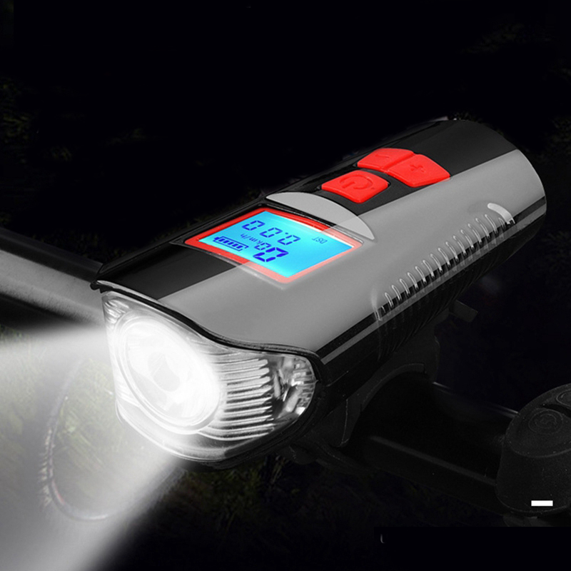 Bike Light Front USB Horn Speed Meter Charging Bike <font><b>Bicycle</b></font> Light <font><b>Flashlight</b></font> Handlebar Cycling Head LED Lights Bike Accessories image