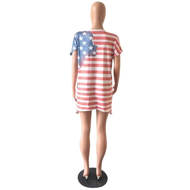 Women Sexy Casual Short Sleeve O-Neck National Flag Print Mini Dress Summer Loose Plus Size Asymmetrical Above Knee Dresses 5