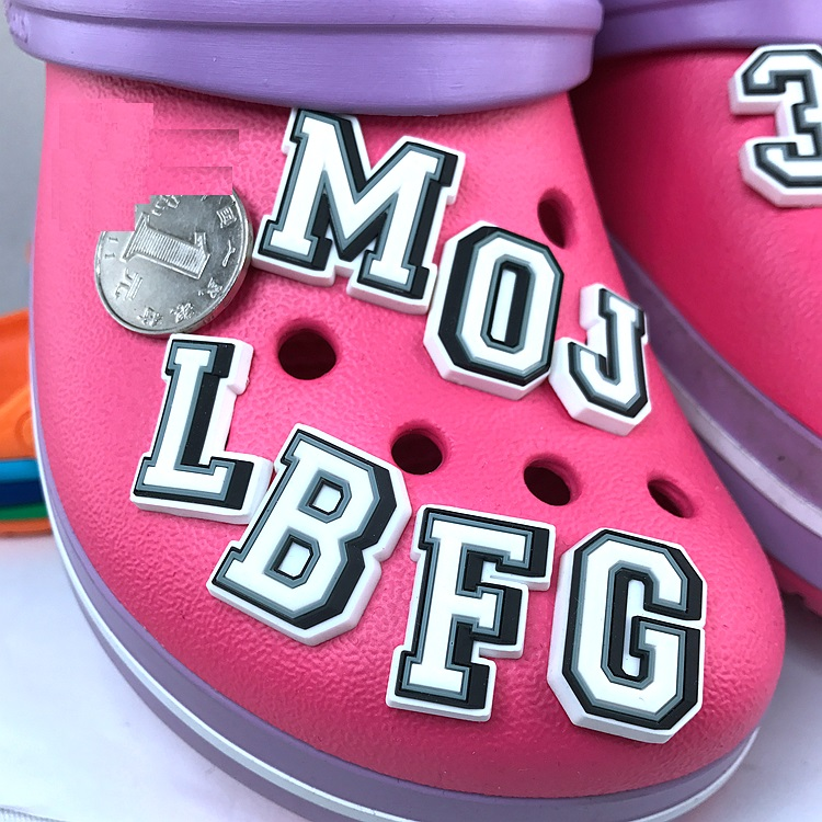 Original JIBZ Children's Gift Capital Letter Noctilucence Shoe Flower Toys Cartoon PVC Beach Shoe Accessories For Kids