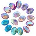 AB цвета 8x10,10x14,13x18,18x25,20x30 мм овальные Стразы из стекла с острым основанием Необычные камни для одежды своими руками