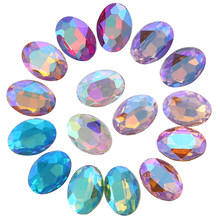 Ab cores 8x10,10x14,13x18,18x25,20x30mm cristal oval strass apontado para trás fantasia pedra diy pedras de vestuário