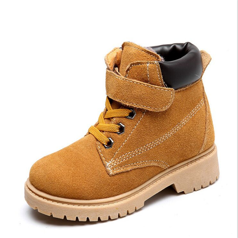 Children Motorcycle boots  Leather Waterproof Boots Winter Kids Snow Brand Girls Boys Shoes Rubber