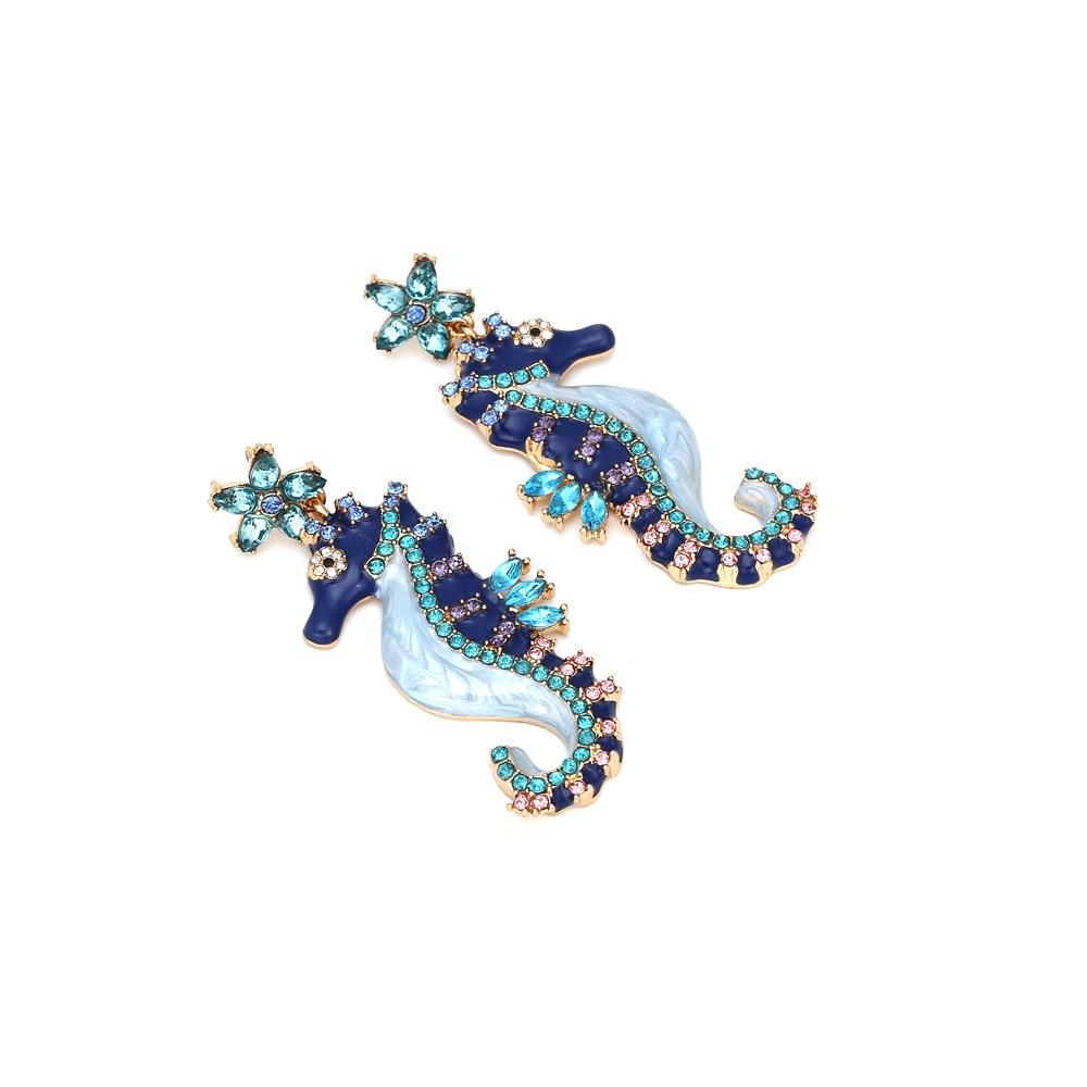 Women's Drop Oil Seahorse Earrings Vintage Animal Ear Stud Cute Female Ear Stud Ornament