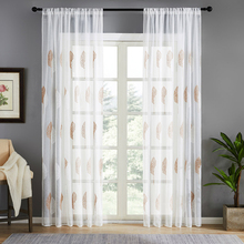 CDIY Tulle Curtains for Living Room Modern Leaves Sheer Curtain for Bedroom Voile Curtains Fabric Voile Window Screening Drapes cdiy tulle curtains for living room bedroom kitchen modern sheer curtains for window screening linen voile curtains drapes door