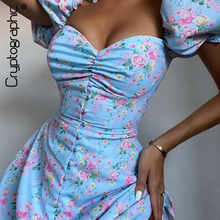 Cryptographic Prairie Chic Floral Print Cottagecore Mini Dress Club Boho Puff Short Sleeve Dresses Bodycon Women's Clothing