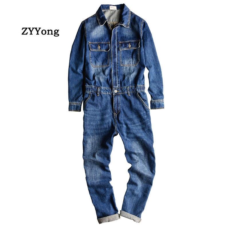 Men's Denim Jumpsuits Long Sleeve Lapel Overalls Jeans Blue Hip Hop Cargo Pants Streetwear Clothing Fashion Casual Trousers