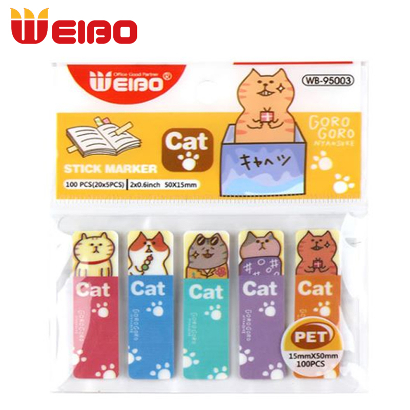 WEIBO 100PCS/Set Cute Bookmarks Marker Of Page Sticker Post It Bookmark Office Supply School Student Stationery For Books