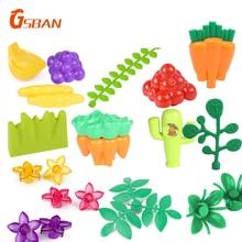 Toys Building-Blocks Flower Garden-Accessories Banana-Grass Farm City Big-Size Children