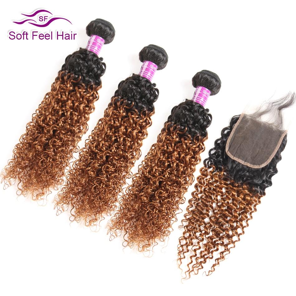 Мягкие волосы на ощупь 1B/30 Омбре пучки волос с закрытием Remy перуанские Кудрявые Волнистые человеческие волосы 3 пучка с закрытием 4 шт./лот