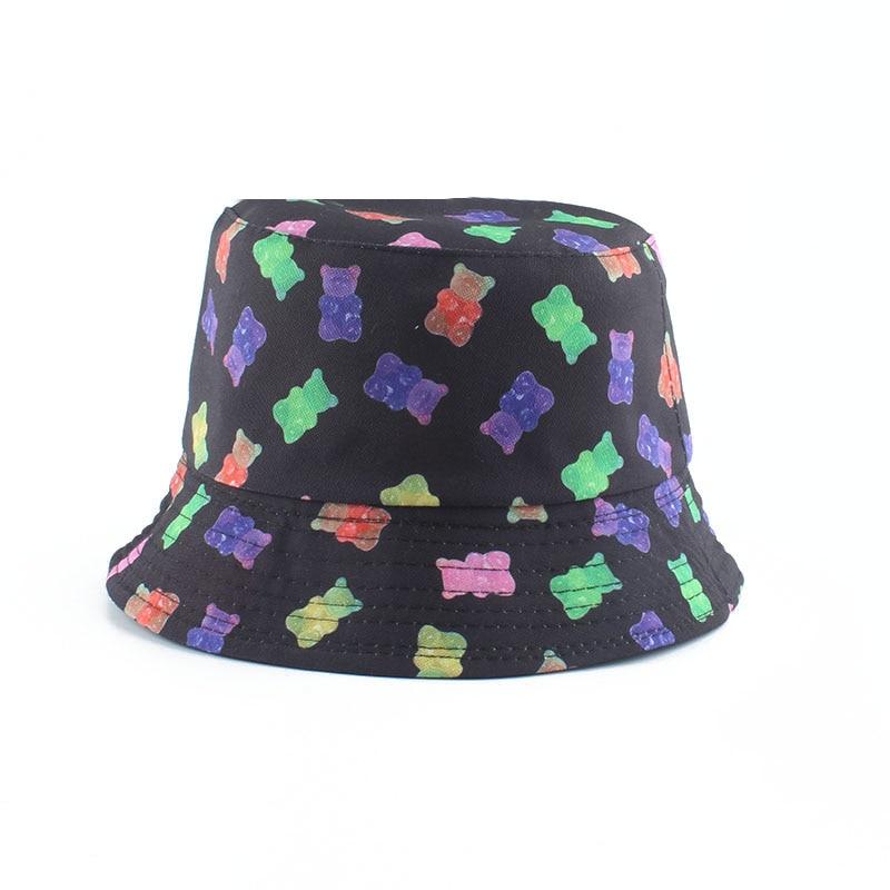 Summer Fisherman Hat Reversible Cartoon Bucket Hats For Women Men Street Hip Hop Bucket Cap Vintage Bear Printed Fishing Hat