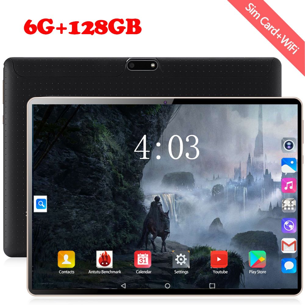 Tablet 10.1 Inch 3G/4G LTE Phone Dual SIM Tablets Pc Android 8.0 Google Play Deca Core 6GB/128GB Tab 1920*1200 IPS Tablet 10.1