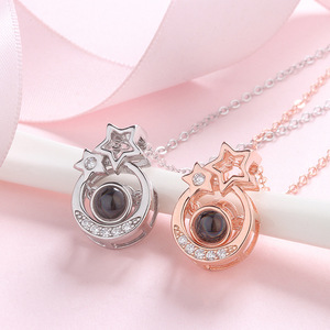 Image 5 - Amxiu 925 Sterling Silver Roman Numerals Necklace Custom 100 languages I love you Projection Pendant Necklace For Women Wedding