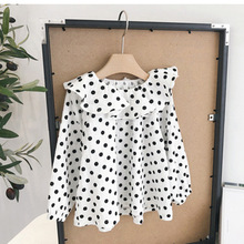 Chen/детская одежда для мам; сезон весна-осень; коллекция года; стиль; детская рубашка в горошек с гофрированным воротником для девочек; топ с длинными рукавами