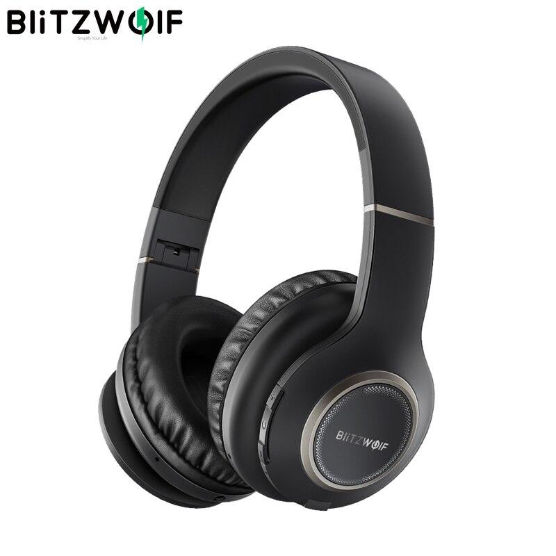 BlitzWolf BW-HP0 Fones de Ouvido Sem Fio fone de Ouvido Bluetooth Dobrável Over-Ear Headphones Com Microfone Para PC telefone móvel Mp3