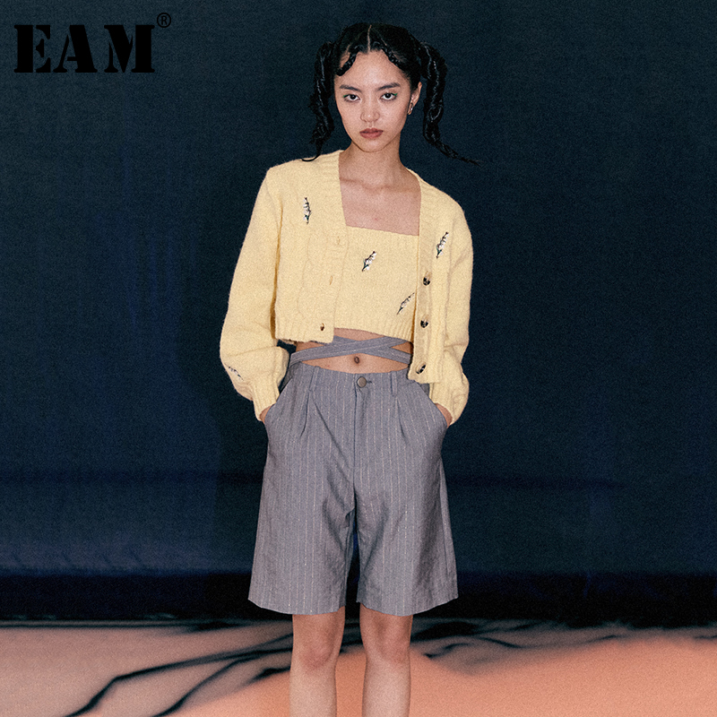[EAM] High Waist Gray Striped Split Joint Leisure Trousers New Loose Fit Pants Women Fashion Tide Spring Autumn 2020 1B904