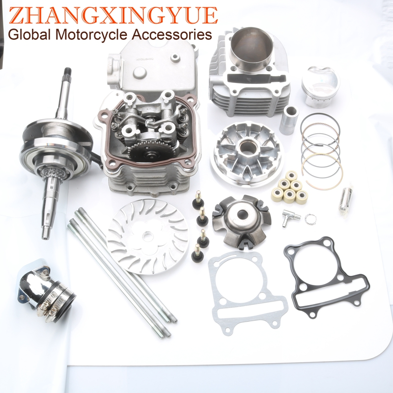 61mm 4 Valve / 4V Large Bore Performance Kit & Drive Assembly & +3mm Crankshaft for GY6 GP110 125 150 Upgrade to 180cc 157QMJ4 valvebore kitgy6 180cc kit -