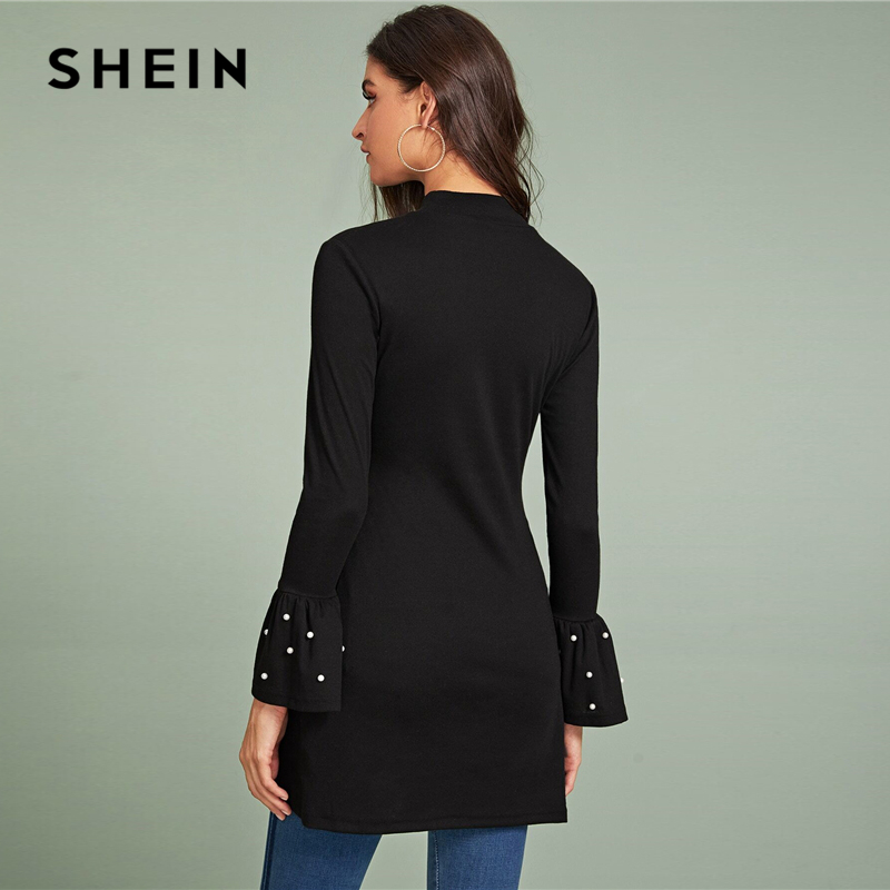 SHEIN Black Beaded Flounce Sleeve Side Slit Tee Women Spring Autumn Long Sleeve Stand Collar Solid Long Elegant T-shirts 2