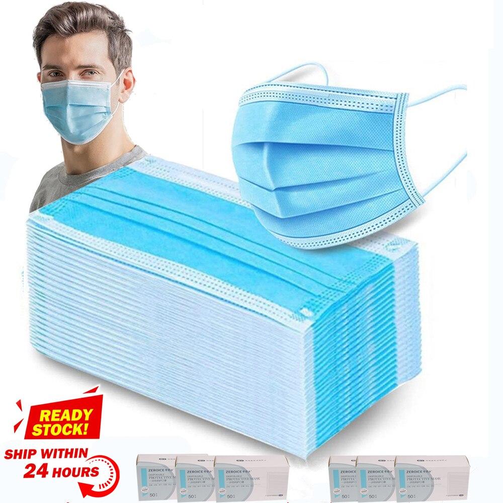 Masque médical jetable Anti-poussière à trois couches, filtre, boucles auriculaires, masque facial Non tissé respirant, expédition sous 12 heures 1