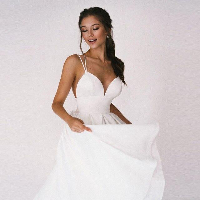 Sexy Short Wedding Dress Thin Straps Criss Cross Simple V Neck Satin Bridal Dresses A Line Vestidos De Noiva Bride Gown 3