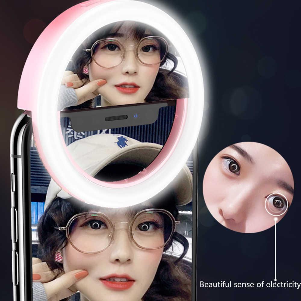 Espejo de maquillaje LED, Clip portátil para teléfono móvil, anillo de Selfie, lámpara de luz de lente de Flash de relleno de belleza para foto, teléfono móvil, teléfono inteligente