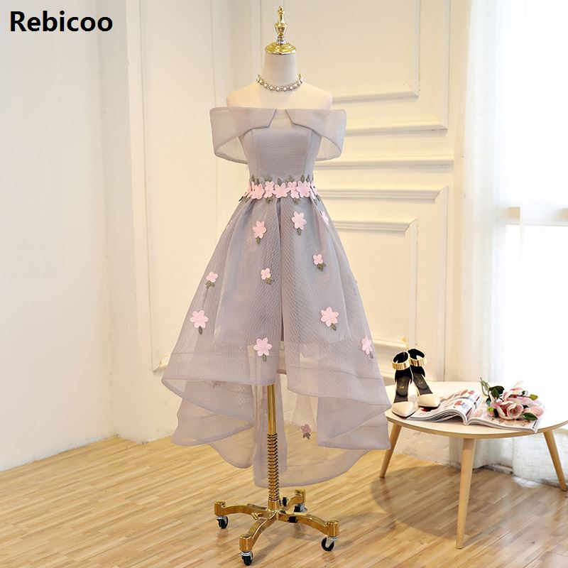 In Stock Boat Neck Plus Size Party Short Sleeve Dress For Graduation Tulle With Beading Flowers Asymmetrical Vestidos De Bail
