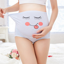 The Belly Pregnant Women Underwear Of Cartoon Face Pattern Panties Breathable Cotton Underwear, Maternity Adjustable