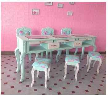 New paint blue specials double-layer nail table, single and double three-person nail table and chair set - DISCOUNT ITEM  26 OFF Furniture