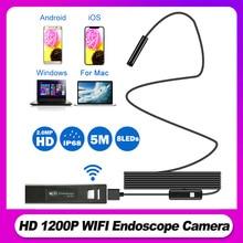 Wifi endoscópio câmera hd 1200 p mini impermeável cabo macio 2.0 megapixels inspeção câmera 8mm 6led 1 m/2 m/3 m/4 m/5 m usb endoscópio