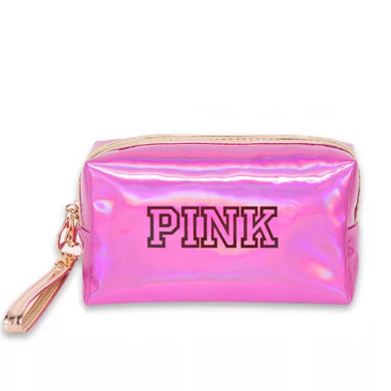 Women's Cosmetic Bag, PINK Laser Sequins Makeup Bag, Waterproof Mini Organizer Bag, Small And Feminine Makeup Bags