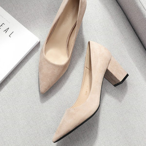 Image 5 - 2020 Shoes for Women Slip Ons Square High Heels Office Lady Flock Pointed Toe Sexy Wedding Heeled Solid Black Heels Woman Pumps