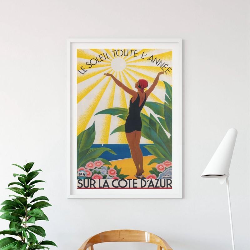 Affiche de voyage Vintage colorée, affiche de France imprimée, peinture Sur toile dart mural, broderie de rivière française, décor mural de maison