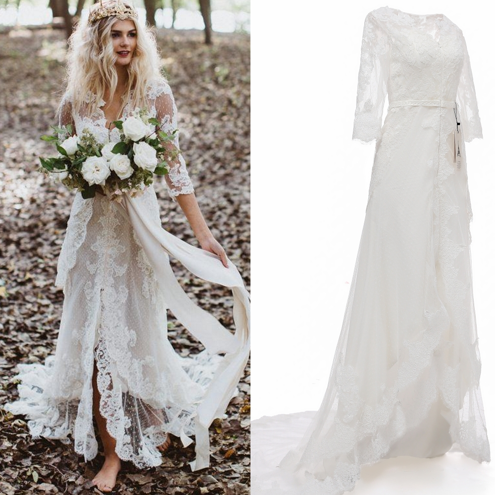 Real Sample Photo  Lace Bohemia Mermaid Wedding Dress Bridal Gown With Sweep Train