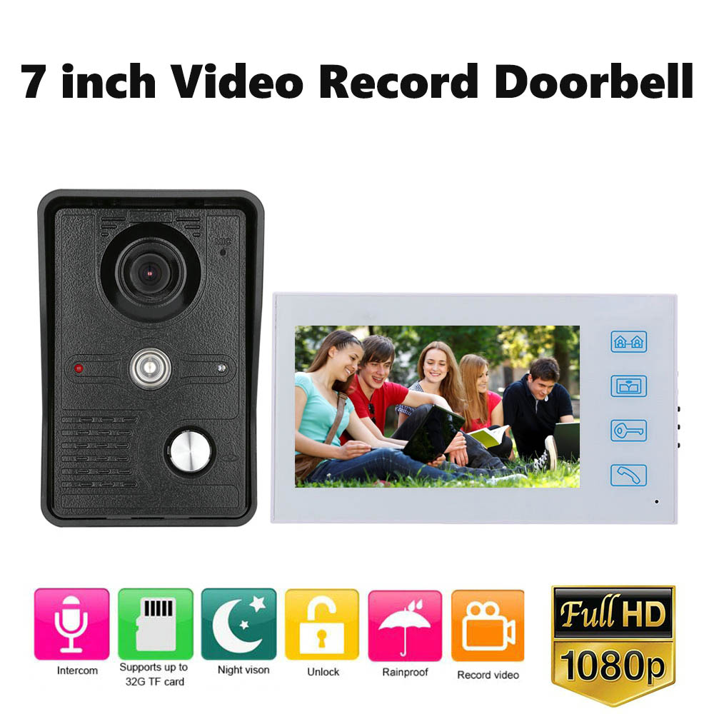 1080P Video Intercom System 7 Inch Video Record Touch Monitor Wired Video Door Phone Doorbell Kits Support AHD 1080P Camera
