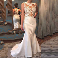 Elegent Arabic Long Evening Dresses 2020 Beaded Lace Appliques Satin Women Dudai Formal Dress Prom Gown Robe de Soiree