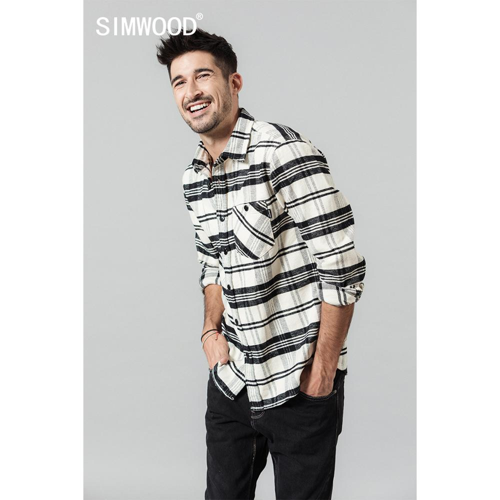 SIMWOOD 2020 Spring New Black White Plaid Shirts Men Check 100% Cotton Long Sleeve Shirt Plus Size Brand Clothing SI980714