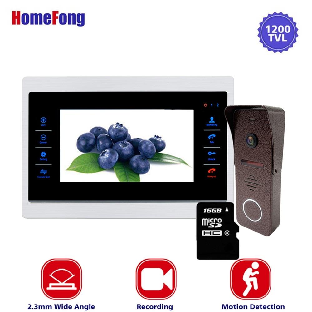 Homefong 10 Inch Video Intercom Door Phone Intercom  System Metal Monitor And Doorbell Wide Angle 130 Degree Record