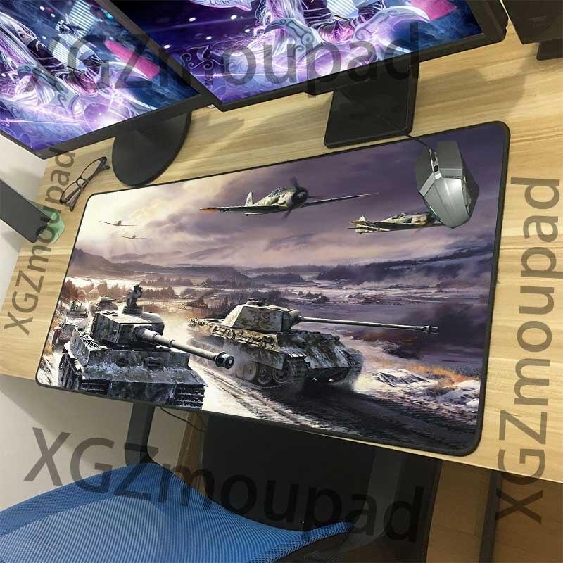 XGZ Large Mouse Pad Black Lock Edge World Of Tanks Computer Table Mat Rubber Stripe Non-slip Custom Coaster Carpet Washable Xxl