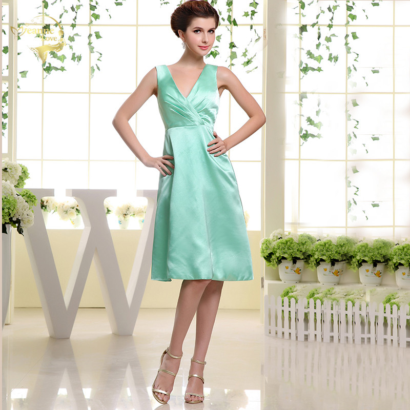 Mint Green Bridesmaid Dresses A Line Knee Length Satin Bridesmaid Short Dress Prom Formal Party Gowns Dress for Bridesmaid Women