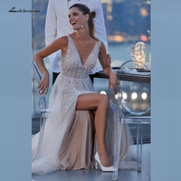 Luxury Wedding Dress High Side Split Robe de Mariee 2020 Sexy Boho Bridal Dress Open Back Beading Wedding Reception Dress