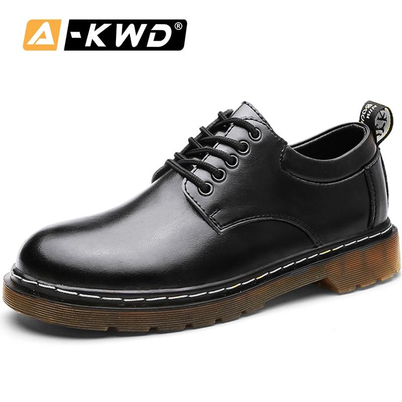 Fashion Casual Mens Shoe Lace-up Loafer Shoes Men Big Size Men Autumn Breathable Men's Shoes Leather Black Heren Schoenen Leer