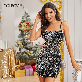 COLROVIE Contrast Sequin Glitter Cami Dress Women Sleeveless Sexy Mini Dress 2020 Spring Slim Glamorous Straight Party Dresses