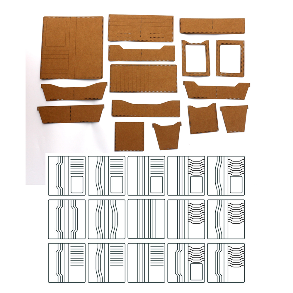 DIY Leather Craft Long Wallet Universal Heavy Kraft Paper Cardboard 500gsm Sewing Pattern Hollowed Stencil Template