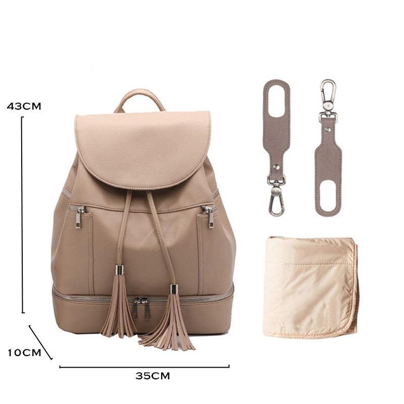 PU Leather Baby Diaper Bag Backpack Mommy Maternity Changing Pad Stroller Straps Nappy Backpack For Mom | Happy Baby Mama