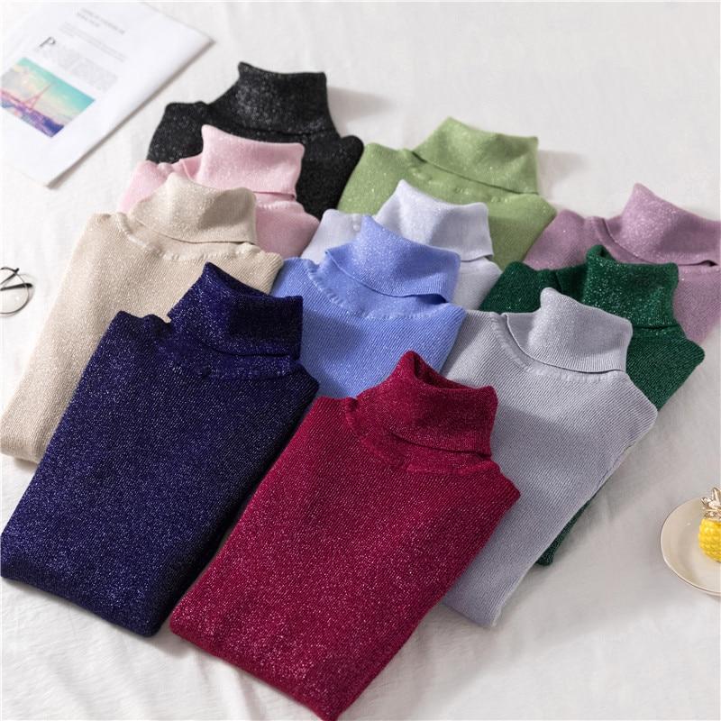 Shiny Sweater Women 11 Colors Turtleneck Slim Pullover Spring Autumn Long Sleeve Knit Jersey De Mujer свитер женский M9D691