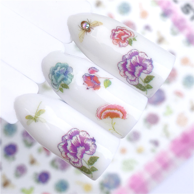 AliExpress Explosive F Series Thin Gum Nail Sticker Nail Ornament Pink Semi-Permeable Dye Rose