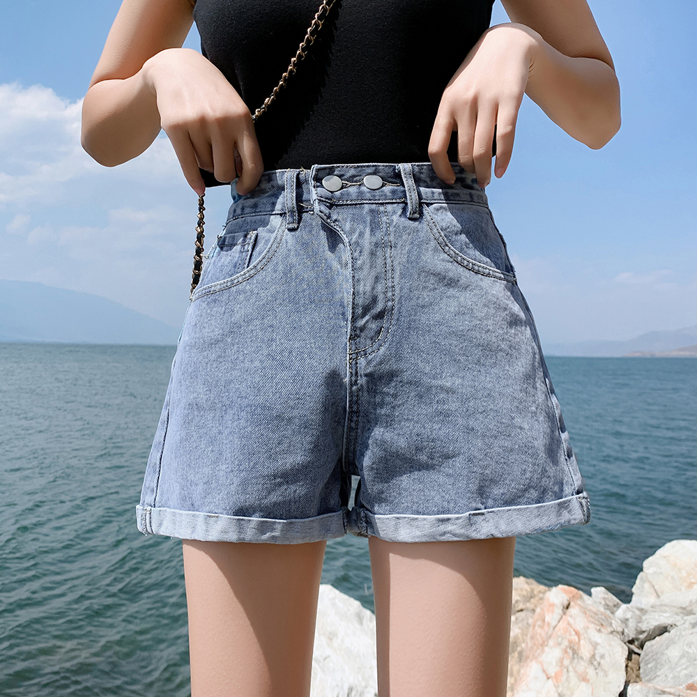 Women's Denim Shorts Fashion High Waist Wide Leg Jeans Shorts Button Zipper Casual Ladies Summer Shorts Denim For Women