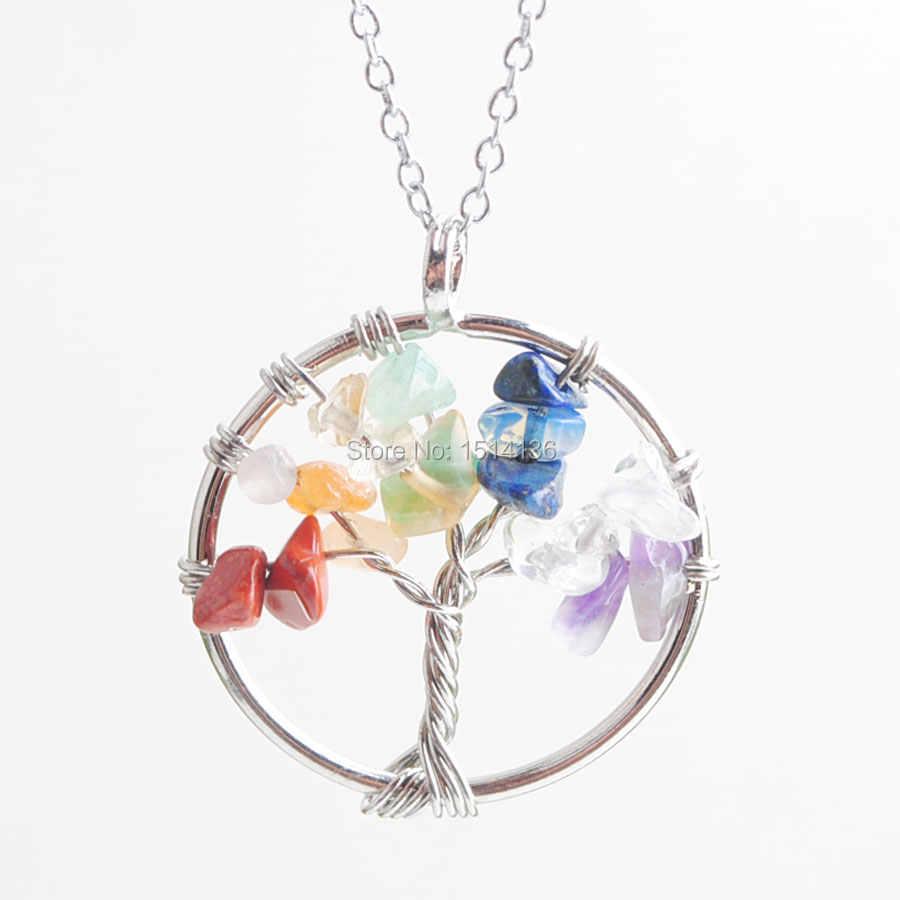 WOJIAER Tree of Life จี้และสร้อยคอธรรมชาติ Multicolor อัญมณีหินลูกปัด 7 Chakra ห่อผู้หญิงเครื่องประดับ LN8000