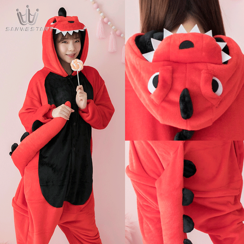 Animal Cosplay Pajamas Adult Women Panda Pijama Unisex Winter Warm Sleepwears Flannel 2019 New Fashion Overalls Dinosaur Pajamas