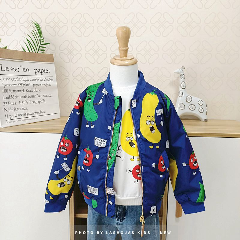 Winter Baby Girls Boys Vegetables Printed long Jacket Kids Keep Warm Thick  Fruits Parkas Coats Children Girls Outerwear Boys Cl 1